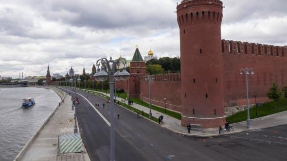 Thumbnail for City Marathon Runners Against Russian Landmark - Moscow Kremlin.