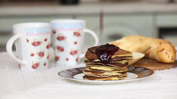 Thumbnail for Stack Of American Pancakes With Blackcurrant Jam