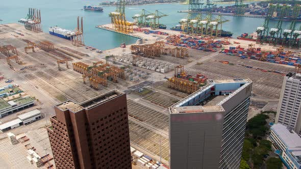Thumbnail for Trading Port of Singapore with Containers Terminals Timelapse