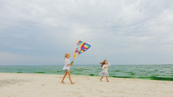 Thumbnail for Two Children Playing With a Kite On The Beach On Sea And Sky Background