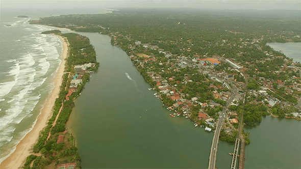 Thumbnail for Bentota Town and River From Above