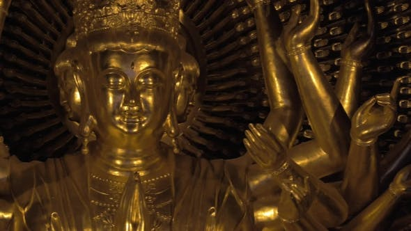Buddhist Bronze Statue In Bai Dinh Pagoda, Vietnam