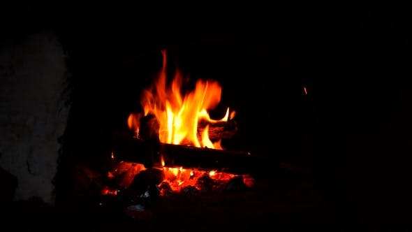 Thumbnail for Fire Is Burning In a Rustic Wood Stove