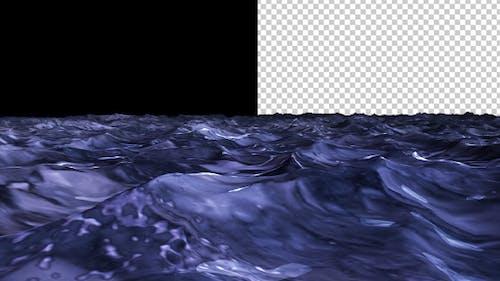Sea Water - Night Time - Waving Loop