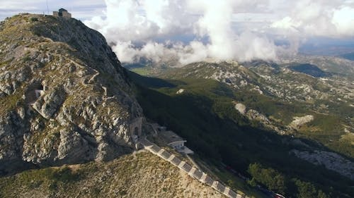 Aerial View of Lovcen Mountain and Mausoleum of Njegos