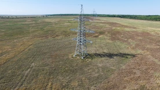 Thumbnail for AERIAL: Flying Up The High Voltage Electricity Tower And Power Lines. Aerial