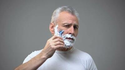 Senior Male Shaving, Aging Skincare Creme, Morning Routine Rituals, Tradition