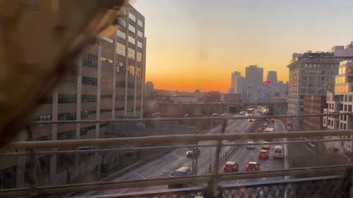 Brooklyn Dumbo Area at Sunset View From Manhattan Bridge