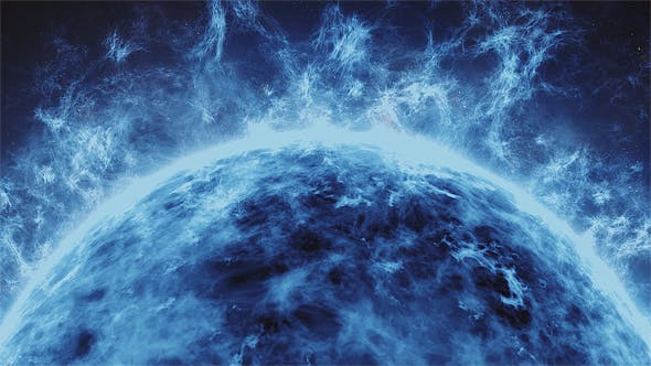 Thumbnail for Blue Fire Star in the Vast Space