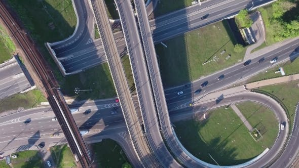 Thumbnail for Aerial View Of a Freeway Intersection