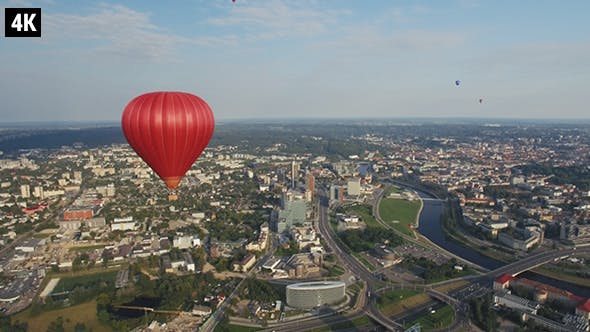 Cover Image for Hot Air Balloon flying over Vilnius, Lithuania