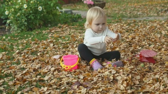 Thumbnail for Cute Baby Girl Playing With Leaves In Autumn