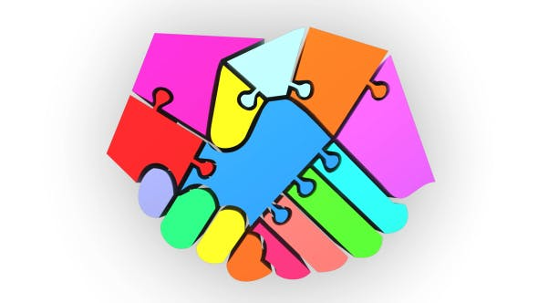 Colorful Hands Shake Puzzle
