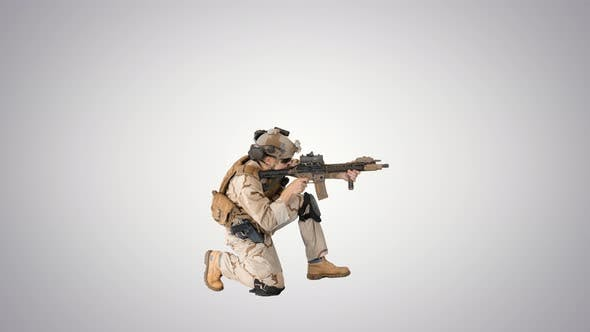 Thumbnail for Soldier Sits Down for Aiming and Shooting with Rifle on Gradient Background.