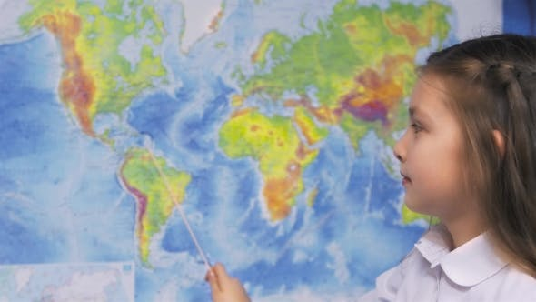 Thumbnail for Girl With World Map In Classroom