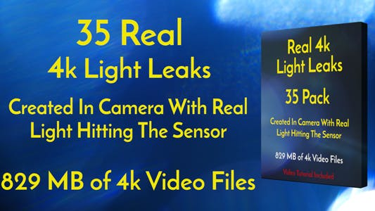 Thumbnail for 4k Real Light Leaks 35 Pack Of Effect Overlays