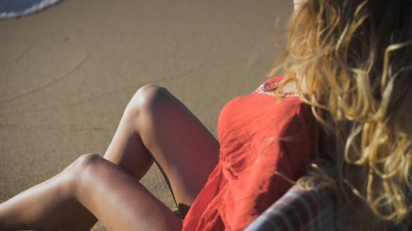 Thumbnail for Of a Beautiful Girl Sitting On Wood. Travel And Vacation. Freedom Concept. Sensual Blonde Beautiful