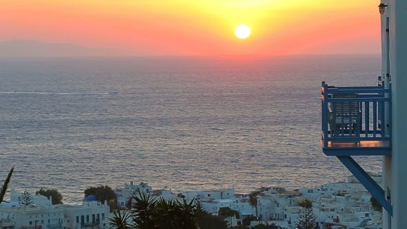Thumbnail for Beautiful Colorful Sunset Of Amazing Greek Town Mykonos