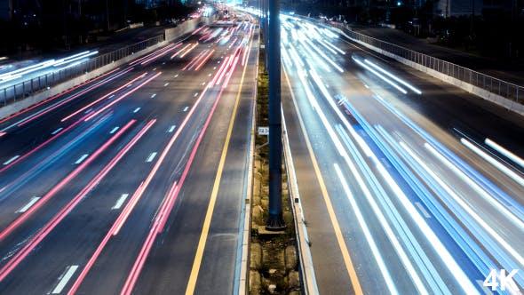 Fast Highway Traffic Night