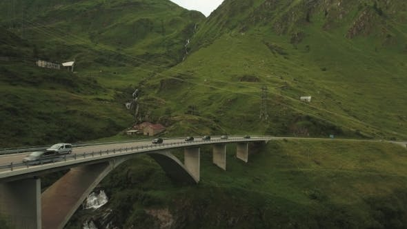 Thumbnail for High Bridge On The Highway In Swiss Alps