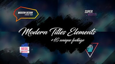 16 Modern Titles Elements Text Backgrounds/ Interface/ Lower Third/ Dance Party/ Youtube Blogger