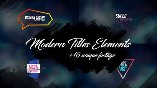 Thumbnail for 16 Modern Titles Elements Text Backgrounds/ Interface/ Lower Third/ Dance Party/ Youtube Blogger