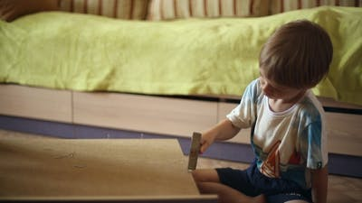 Boy is Hammering Nails with a Hammer