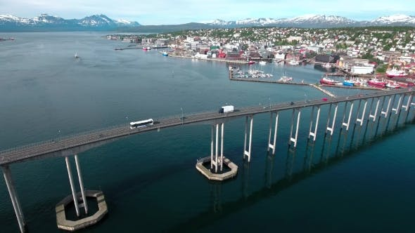 Thumbnail for Bridge Of City Tromso, Norway Aerial Footage