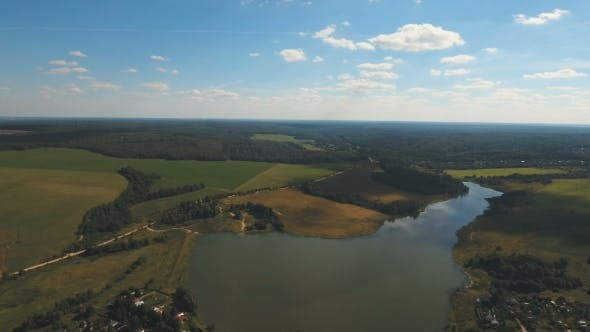 Thumbnail for Aerial View. Landscape Of The Field, Lake.