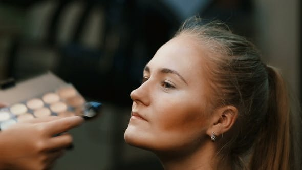 Thumbnail for Make Up Artist Doing Professional Make Up Of Young Woman.