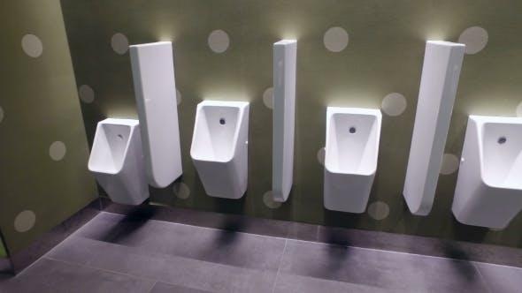 Urinals End Toilet Cubicle