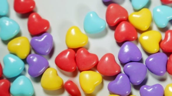 Thumbnail for Colored Candy In Heart Shape On The Table