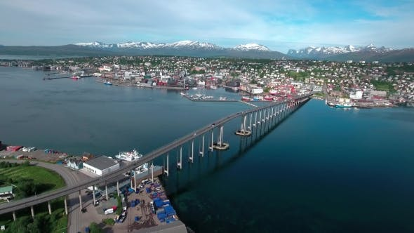 Cover Image for Bridge Of City Tromso, Norway Aerial Footage