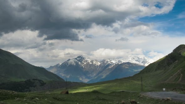 Cover Image for Clouds Moving Over The Georgian Mountains. Mount Kazbek.