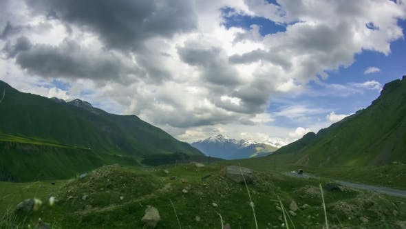 Thumbnail for Clouds Moving Over The Georgian Mountains. Mount Kazbek.