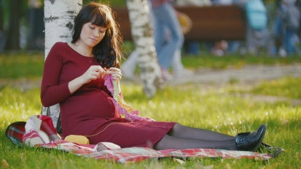 Thumbnail for Portrait Of Cute Pregnant Woman With Belly In Autumn Park Make Hobby Knitting Needles