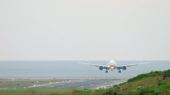 Thumbnail for Widebody Aircraft Approaching Over Ocean