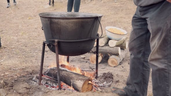 Thumbnail for Cooking Soup With Lamb In a Cauldron.