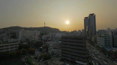 Seoul Panorama At Sunset