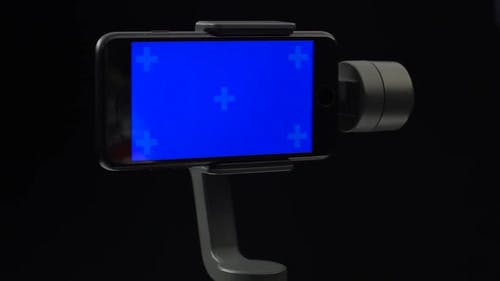 A Steadycam in Motion with the Blue Screen on Smartphone