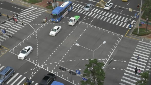 In City Seoul, South Korea At The Big Crossroads Passing Cars