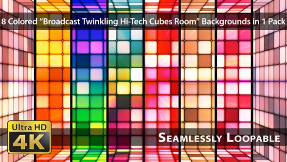 Thumbnail for Broadcast Twinkling Hi-Tech Cubes Room - Pack 02