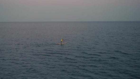Thumbnail for Surf Training In Evening Sea On Sup