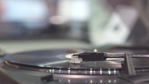 Old Record Player With Vinyl Disk