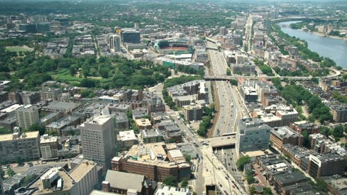 Boston Skyline Including Fenway Park And Interstate Highway