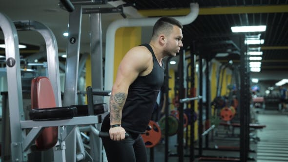 Thumbnail for Young Muscular Man Doing Exercise At The Gym