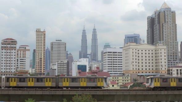 Thumbnail for Panorama Of Kuala Lumpur And Moving Trains, Malaysia
