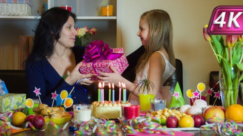 Mum Gives a Gift on Birthday