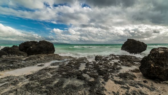 Thumbnail for View on Cloudy and Rocky Boracay Beach in Philippines