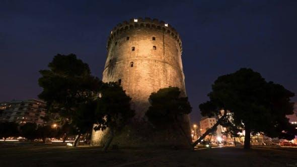 Time Changing And White Tower Illumination, Thessaloniki